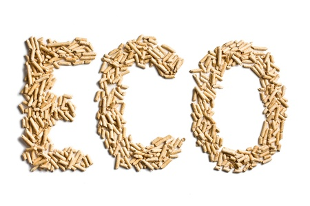 bio fuel: word eco made of wood pellets on white background