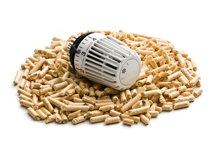 the wooden pellets with thermostat Stock Photo - 16215441