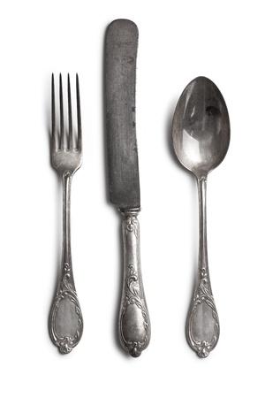 silverware: cuberter�a antigua sobre fondo blanco