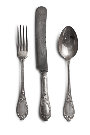 vintage cutlery: old cutlery on white background