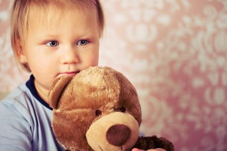 the little baby with teddy bear photo