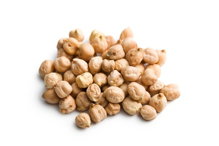 the chickpeas on white background