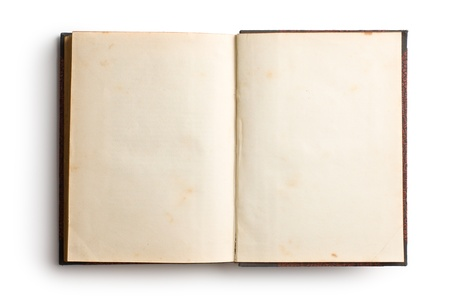 ancient books: open old book on white background