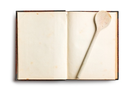 blank note book: old blank recipe book on white background Stock Photo