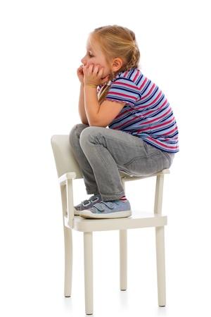 annoyed girl: Annoyed girl child. Studio shot on white.