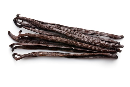bean pod: vanilla pods on white background Stock Photo