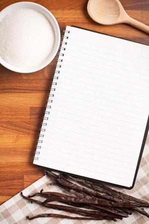 the blank recipe book and vanilla pods photo