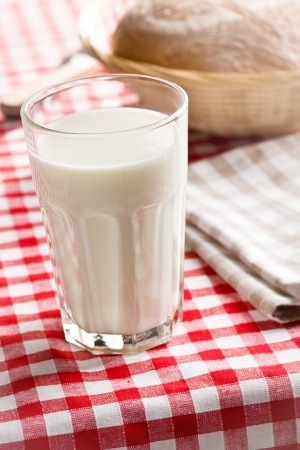 kefir: the glass of milk on checkered tablecloth