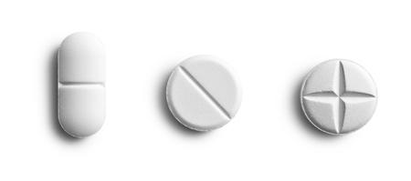 aspirin: the various pills on white background Stock Photo