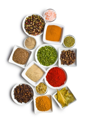 food additives: Various spices and herbs on white background. Stock Photo