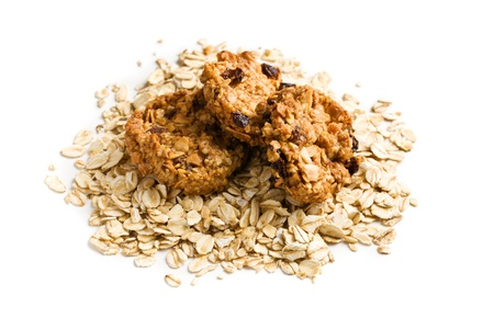 homemade cookie with oat flakes on white background Stock Photo - 18289093