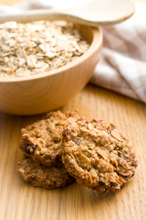 sweet homemade cookie with oat flakes photo