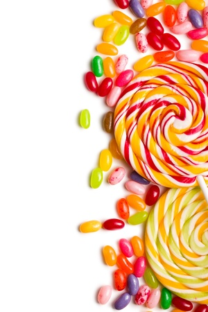 the colorful lollipop with jelly beans photo