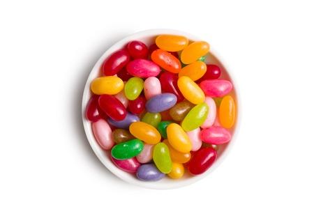 jelly beans: fagioli di gelatina in una ciotola di ceramica Archivio Fotografico