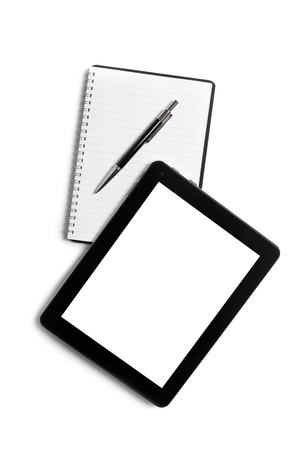 touch tablet and blank notebook on white background photo