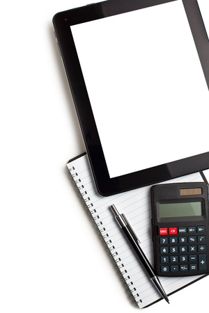 touch tablet with calculator and blank paper on white background photo