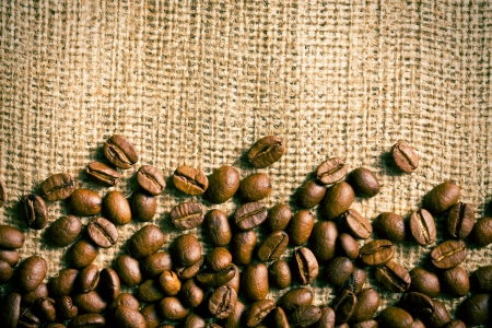 coffee sack: the coffee beans on burlap background