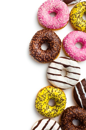 various donuts on white background Stock Photo