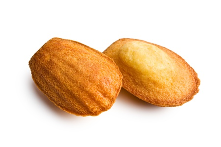the madeleine: madeleine cookies on white background