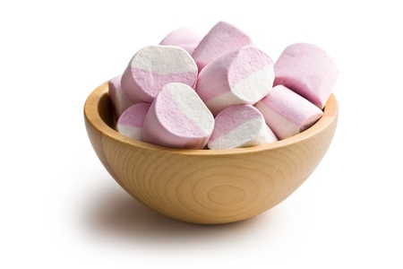 spongy: sweet marshmallows on white background