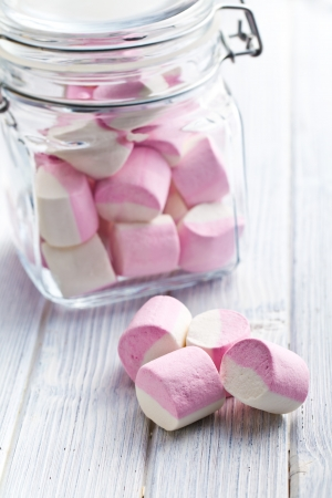 spongy: the sweet marshmallows in glass jar