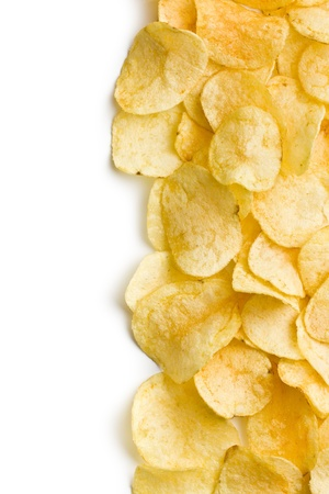 crispy potato chips on white background