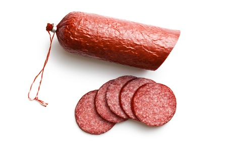 sliced salami on white background photo