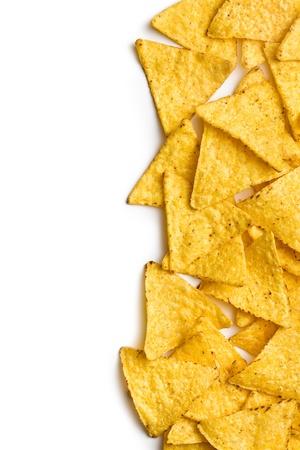 corn chip: corn nachos on white background