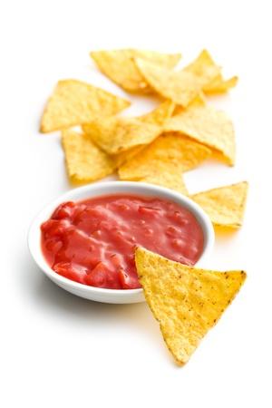 corn chip: nachos and tomato dip on white background Stock Photo