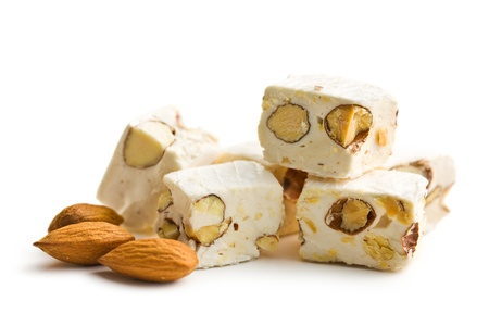 white nougat with almonds on white background