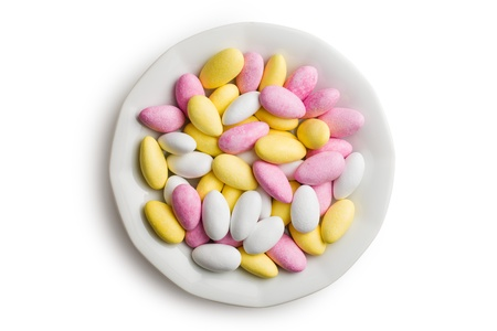 sugared: the sugared almonds on ceramic plate