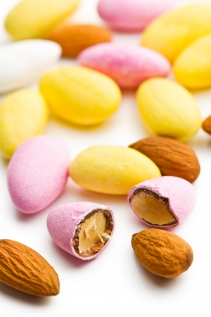 sugared: sugared almonds on white background