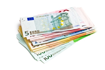 package of banknotes on white background photo
