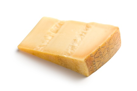 Italian hard cheese on white background Stock Photo