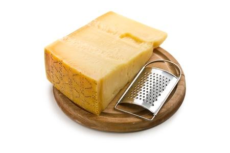 Italian hard cheese on white background Zdjęcie Seryjne