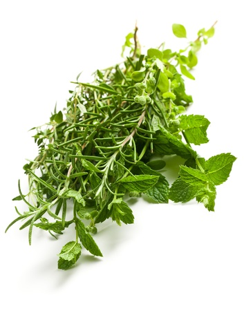 marjoram: various herbs on white background