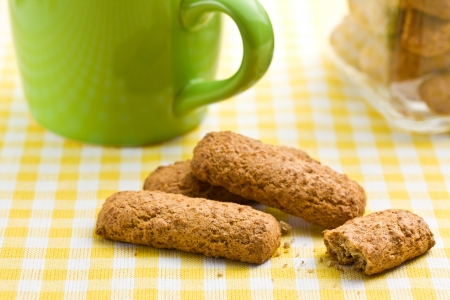 wholemeal cookies on checkered tablecloth photo