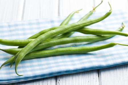 the green beans on kitchen table photo