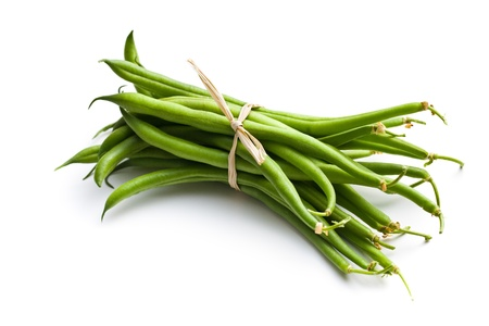 fresh green beans on white background photo