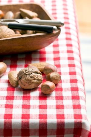 unpeeled: various unpeeled nuts on table