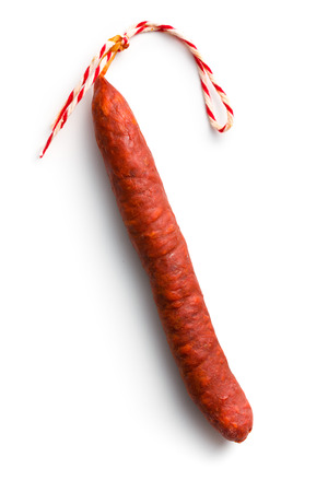 the tasty chorizo sausage on white background photo
