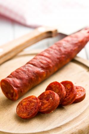 chorizo: the sliced tasty chorizo sausage Stock Photo