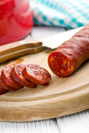 the sliced tasty chorizo sausage photo