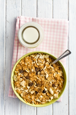 top view of crunchy muesli in bowl photo