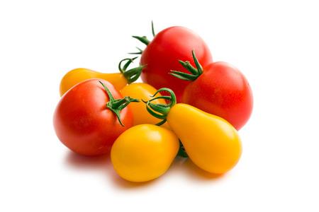 tomatos: various cherry tomatoes on white background Stock Photo