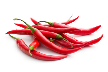 red jalapeno: red chili peppers on white background Stock Photo