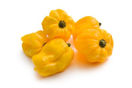 habanero: yellow habanero on white background Stock Photo
