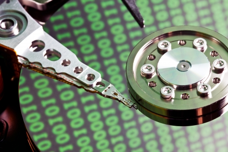 hdd: hard disk with binary code Stock Photo