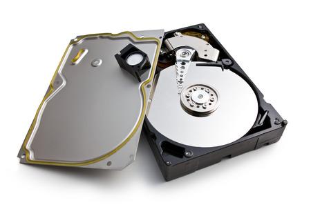 harddisk: open hard disk on white background Stock Photo