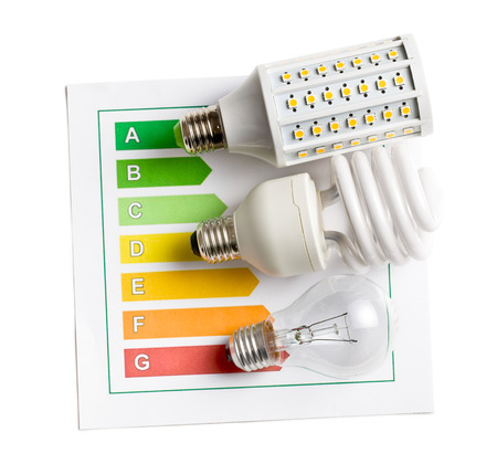 top view of various lightbulbs with energy label on white background photo